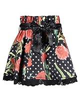 Cutecumber Girls Organza Floral Printed Black Knee Length Skirt