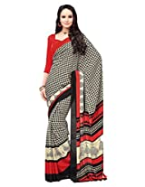 Vibes Crepe Patch Work Saree (S36-5102B _Multi-Coloured)