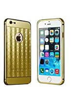 KARP Ultra-thin New Plaid Fundas Pattern Luxury Aluminum Metal Mirror Back Cover for iPhone 6s [4.7''] (Gold)