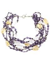 925-Silver Amethyst,Citrine Princess Gemstone Necklace