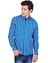 American Swan Kirby Men's Blue Multi Casual Shirt - 40