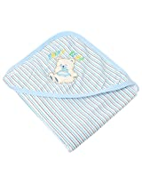 A'la Mode Creation Soft Hosiery Cotton Swaddlers Wrapper With Hood Blue Piping