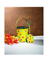 Adorable Food Safe Antique Style Yellow Metal Polka Dot Sand Pail With Shovel