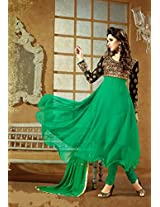 Ladies Latest Fashion - Frock Style Green Anarkali Suit