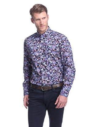 Bogosse Men's Giorgio Paisley Long Sleeve Sportshirt (Navy)