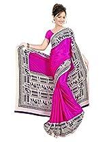 DesiButik's Charming Pink Crepe Saree with Blouse