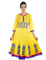 Aspen Gold Jacquard Cotton Anarkali Kurta With Wide Flare