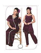Indiatrendzs Women's Sexy Hot Nighty Purple 3pc Set Bedroom Sleepwear Freesize