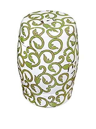 Winward Vine Ceramic Garden Stool, Green/White