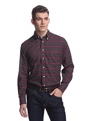 Oxxford Men's Sport Shirt with Button-Down Collar (Blue Multi)