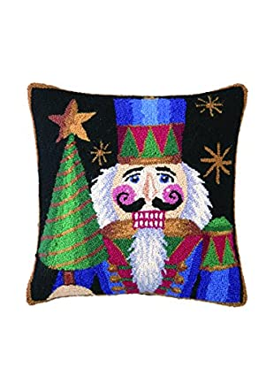 Peking Handicraft Nutcracker with Tree Throw Pillow, Multi