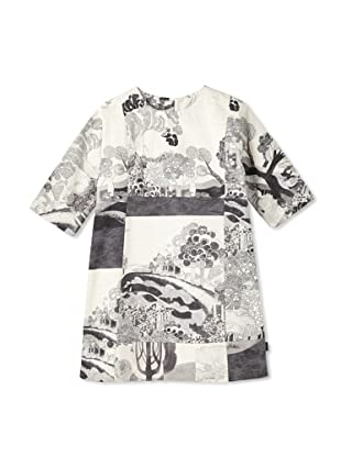 Chloe Girl's Nature Print Sheath Dress (Multi Grey)