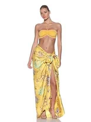 Chris Benz Women's Signature Floral Metallic Sarong (Yellow)