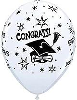 "Congrats Grad White 11"" Latex Balloon Pk Of 12"