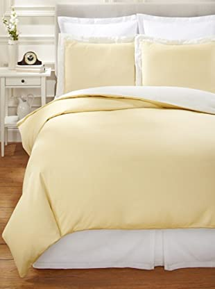 Nine Space Viscose from Bamboo/Cotton-Blend Stripes Duvet Cover Set (Yellow)