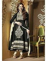 Stylecloset-Esha Deol Black And White Anarkali Suit