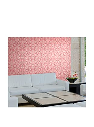 Astek Wall Coverings Set of 2 Floral Diamond Damask Wall Tiles, Red