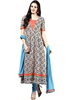Beige Printed Anarkali Cotton Suit by Magnetic Designs