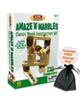 60 Piece Amaze N Marbles Classic Wood Construction Set w/Free Storage Bag
