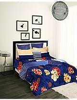 Tangerine Tangy Orange Cotton Duvet Cover - King Size, Blue