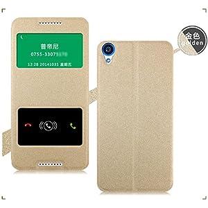 HTC Desire 820 Case Cover, Pudini [Double Window Series] Vacuum Clip Slim Flip Case Cover For HTC Desire 820 (2014) - Gold