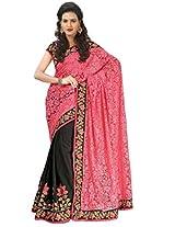 Astha Fashion Georgette Embroidered Saree (Dark Pink Black)-astha502VF
