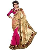 Inddus Women Gold & Pink H & H Bridal Saree