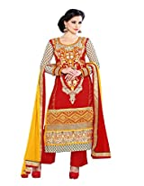 INTRICATE PURE GEORGETTE Straight cut red coloured suit