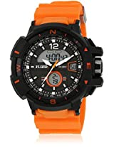 Dmf-009-Or01 Orange/Black Analog & Digital Watch Flud