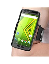 Verizon Droid Maxx 2 Armband, SUPCASE Easy Fitting Sport Running Armband Case for Motorola Moto Droid Maxx 2 / X Play (2015 Release) with Premium Flexible Case Combo (Black)