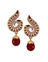 Habors Gold Plated Red Ratnika Earrings