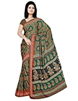 Sitaram Women's Green coloured georgette saree with blouse piece