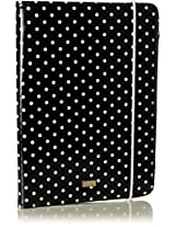 Tuff-Luv Oil Cloth 'Embrace Pro' case cover & Stand (with Sleep Function) for Apple iPad Mini - (Polka Hot) Black