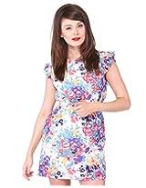 Purys Women's A Line dress (AP031_White Red_XL)