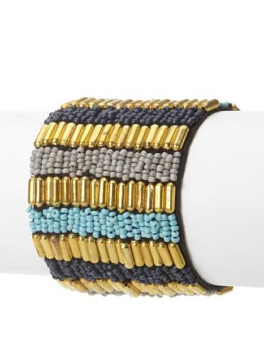 La Croix Rousse Beaded Bracelet, Gold/Turquoise