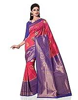 Meghdoot Women's Traditional Kanchipuram Spun Silk Saree Pink and Royal Blue Colour Sari