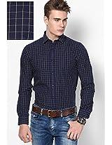 Blue Yarn Dyed Checks Roll Up Sleeve Shirt