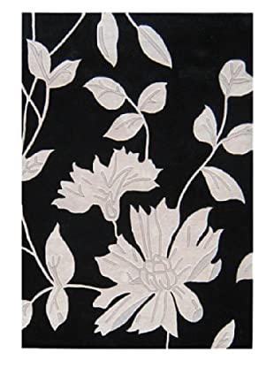 Horizon Alliyah Collection Rug Leaves Rug (Black/Grey)