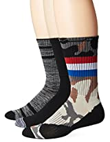 UNIONBAY Men's 3 Pack Athletic Crew Socks, Camo/Grey/Black, 10-13/Shoe Size 6-12