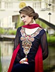 Blue & Pink Georgette Top With Santoon Bottom & Chiffon Dupatta Resham & Zari Embroidery Work Anarkali Salwar Suit Set