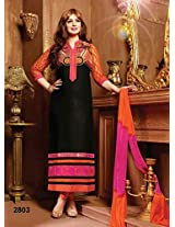 Rozdeal Womens Cotton Anarkali Unstitched Dress Material (Rda139-2803 _Black)