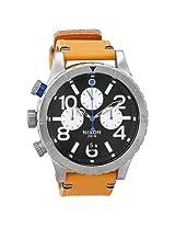 Nixon 48-20 Chronograph Black Dial Tan Leather Men's Watch