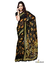 Georgette Printed Saree In Black and Yellow Colour