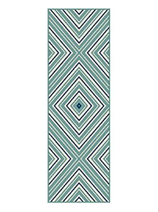 Universal Rugs Garden City Indoor/Outdoor Transitional Runner, Blue, 3' x 8'
