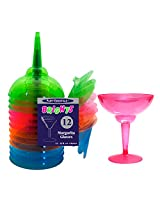 Charmed Celebrations Hard Plastic Two Piece 12-Ounce Margarita Glasses, Assorted Neon, 12 Count