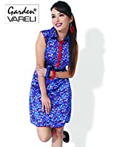 Garden Vareli Womens Crepe Shirt Dress (Gardenvareli Western Dress 1026-A _Blue _Medium)