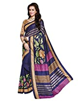 Dark Blue Colour Faux Bhagalpuri Semi Party Wear Shiny Floral Printed Saree 13313