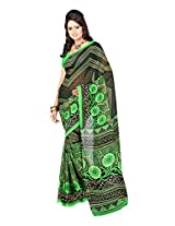 Fabdeal Indian Wear Green Georgette Printed Saree-QTBSR9094BOC