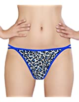 Glus Women Animal Print Love G- String , Size - Medium (Blue)