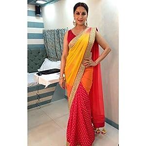 Madhuri Dixit Yellow & Red Bollywood Saree